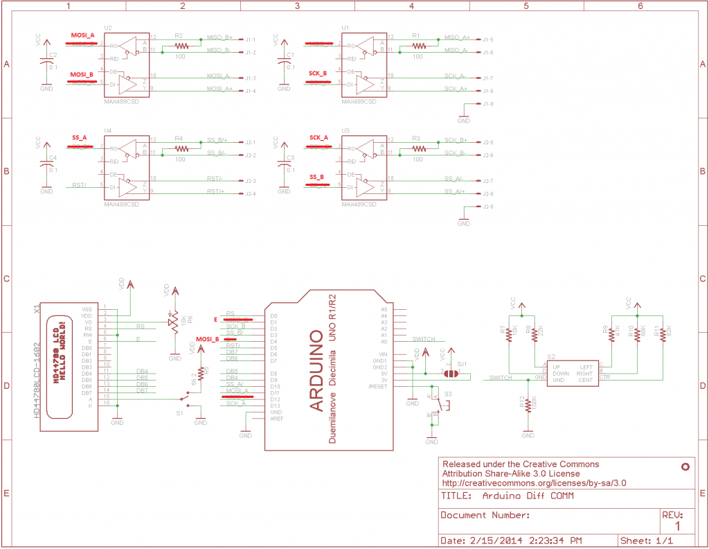 Red-lined Arduino shield schematic.